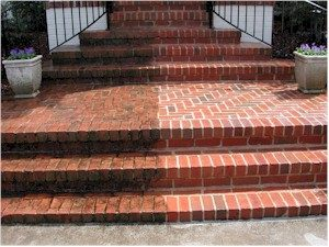 Pressure Washed Brick Stairs