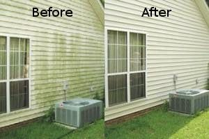 Pressure washed house